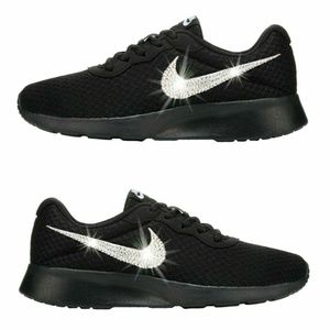 Nike Shoes - Swarovski Crystal Bling Nike Tanjun Black 418c04dba